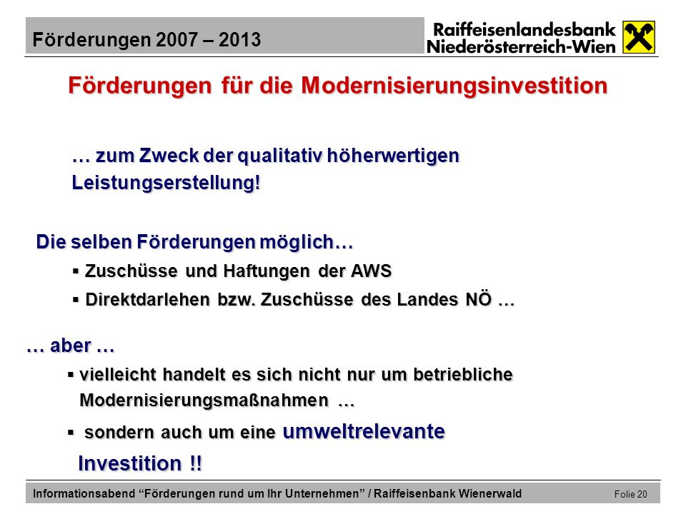 Förderungen für die Modernisierungsinvestition