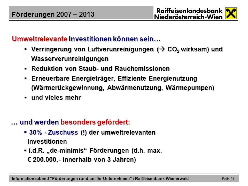 30% - Zuschuss (!) der umweltrelevanten