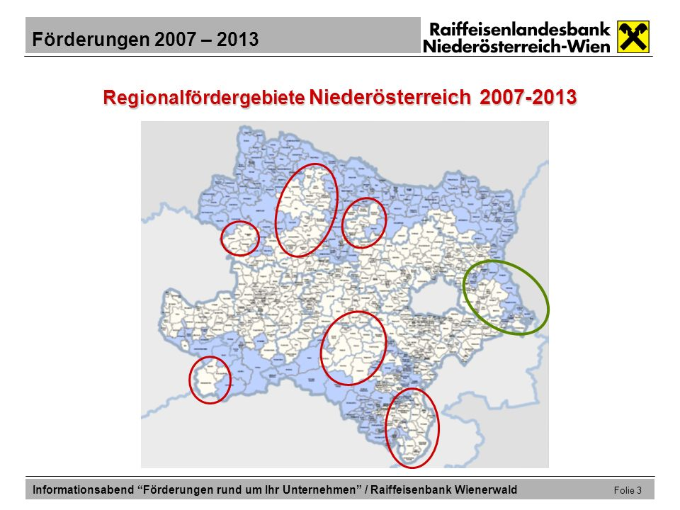 Regionalfördergebiete Niederösterreich 2007-2013