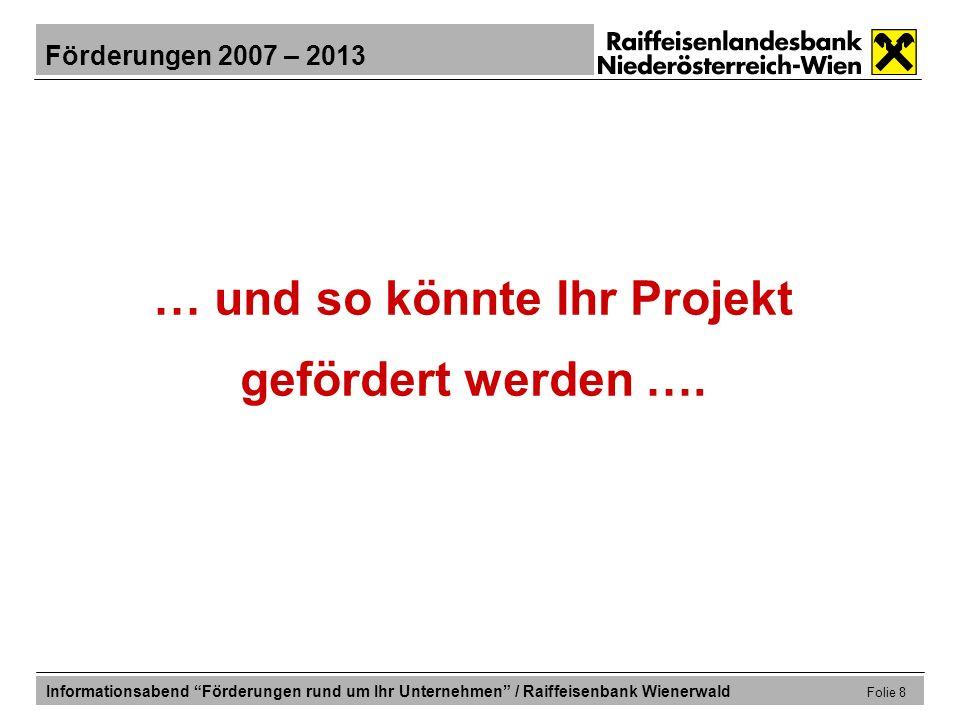 … und so könnte Ihr Projekt gefördert werden ….