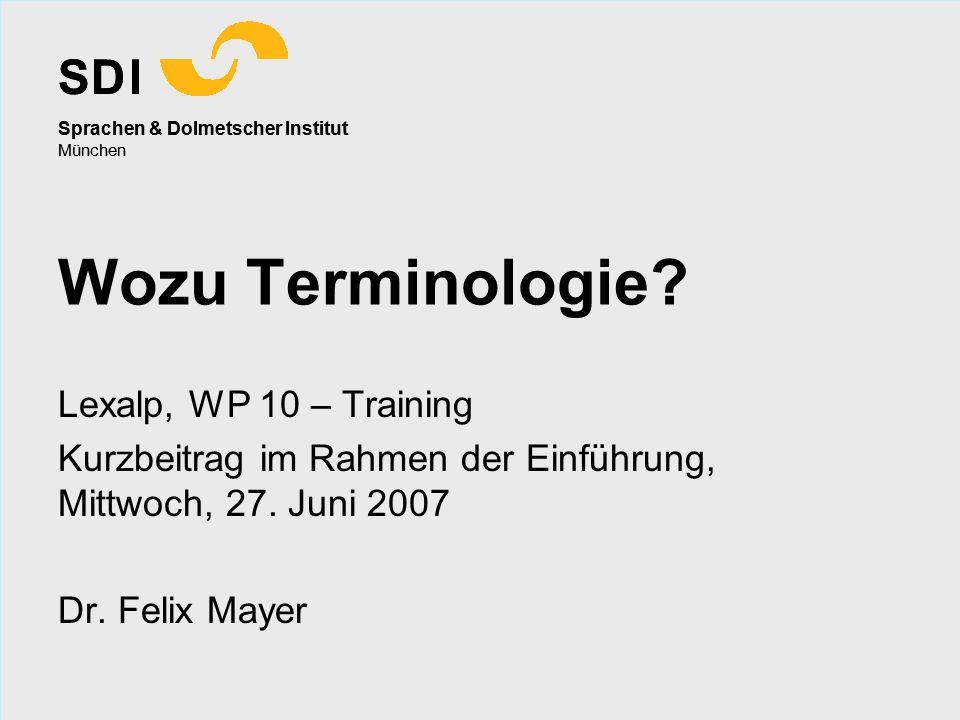 Wozu Terminologie Lexalp, WP 10 – Training