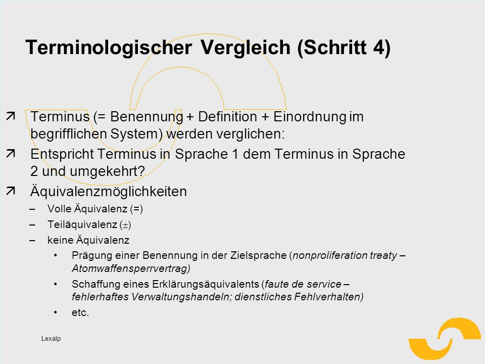 Terminologischer Vergleich (Schritt 4)