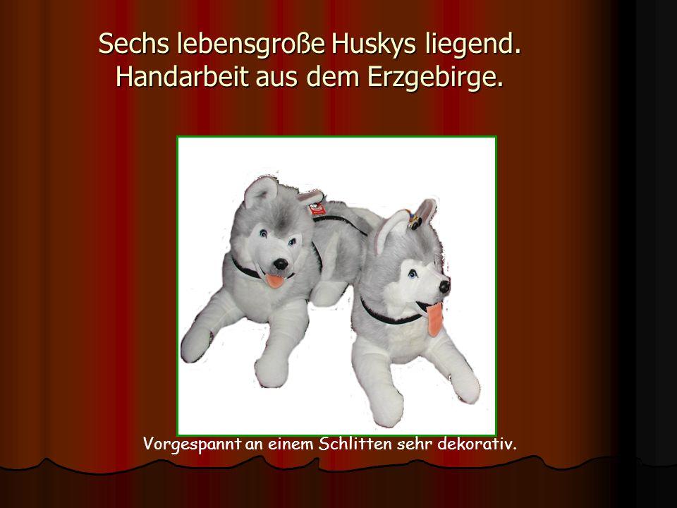 Sechs lebensgroße Huskys liegend. Handarbeit aus dem Erzgebirge.