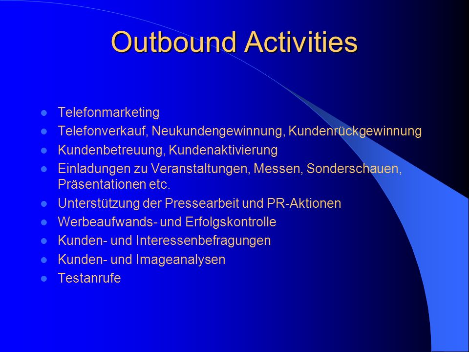 Outbound Activities Telefonmarketing