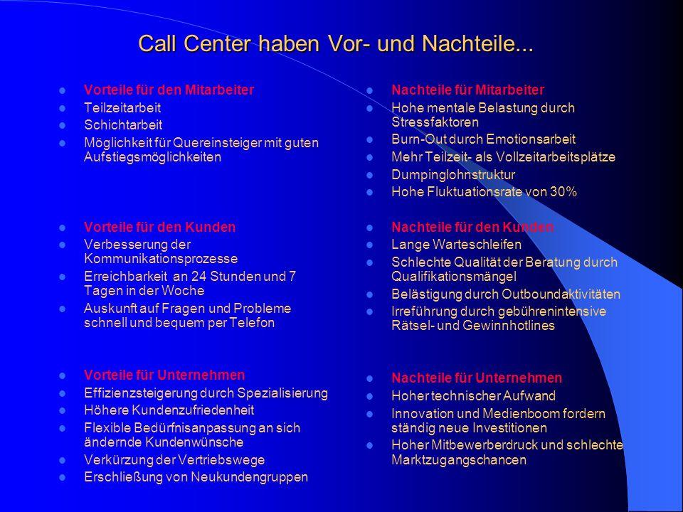 Call Center haben Vor- und Nachteile...