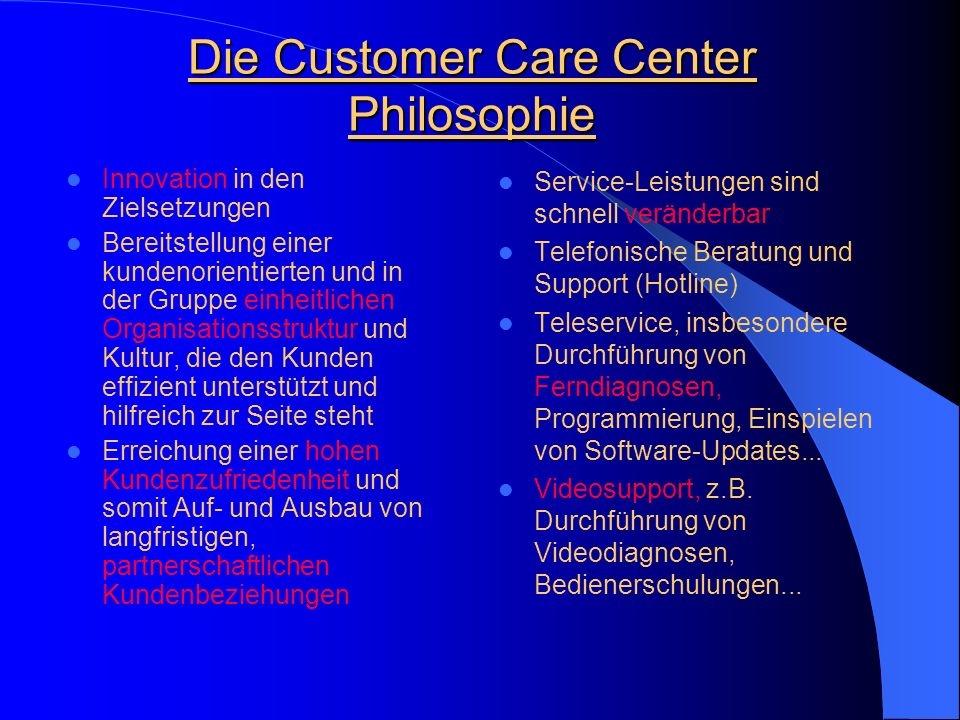 Die Customer Care Center Philosophie