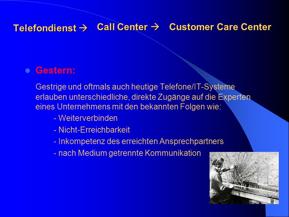 Telefondienst  Call Center  Customer Care Center. Gestern: