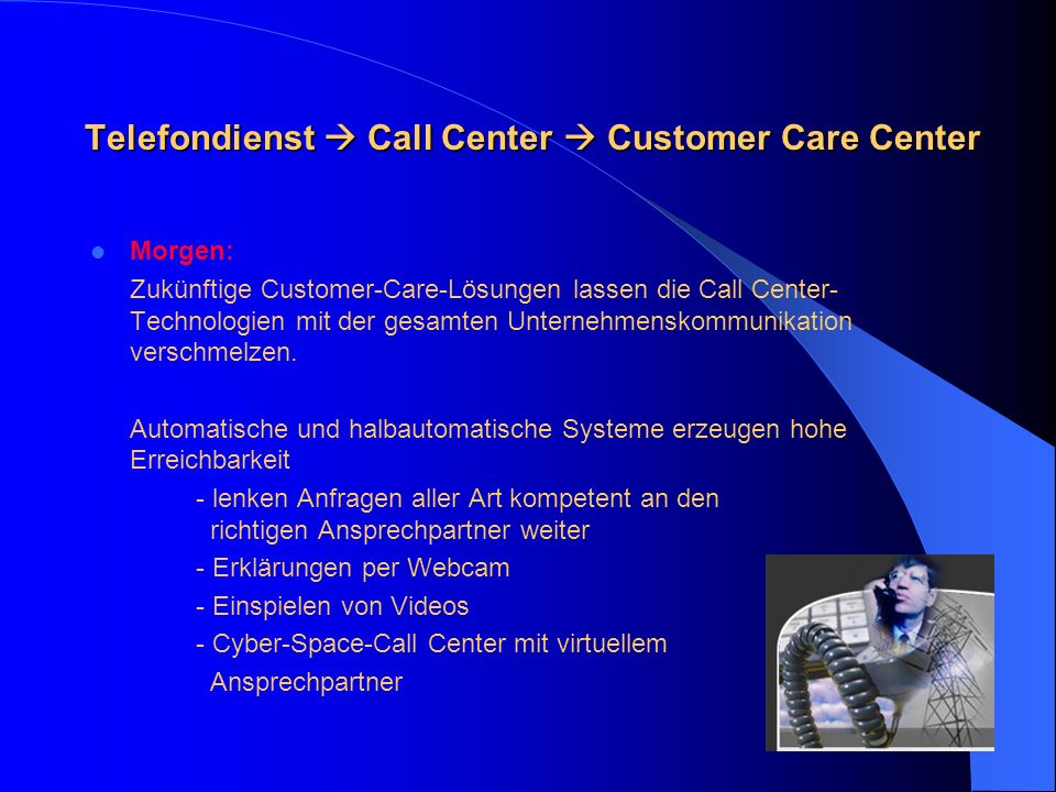 Telefondienst  Call Center  Customer Care Center