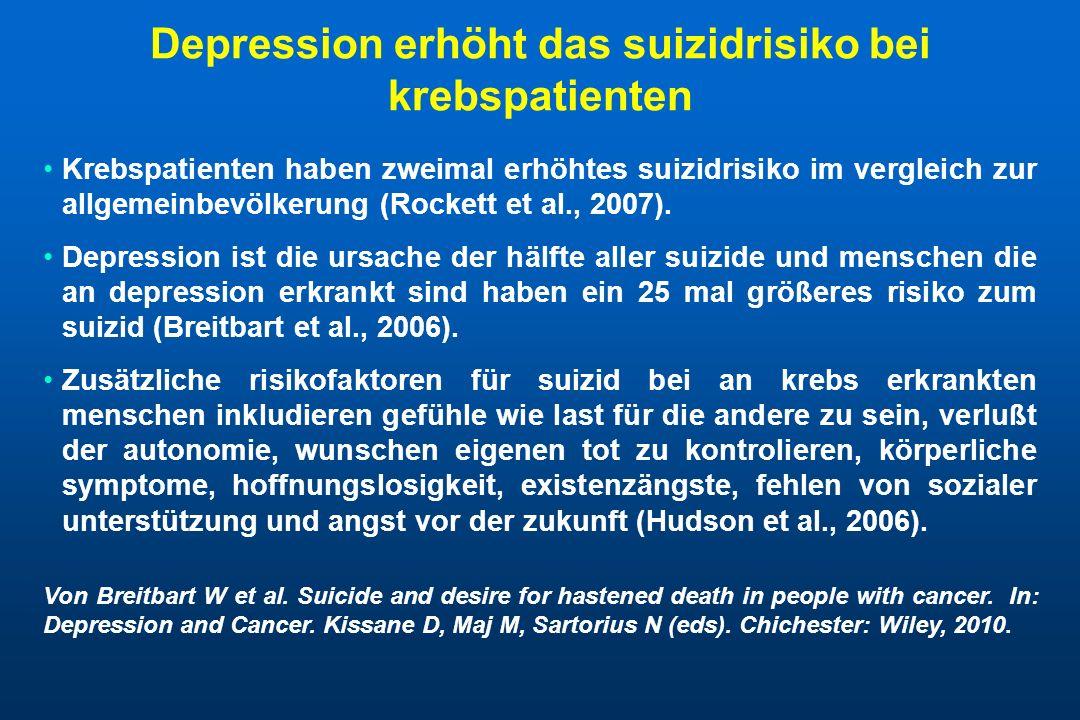 Depression erhöht das suizidrisiko bei krebspatienten