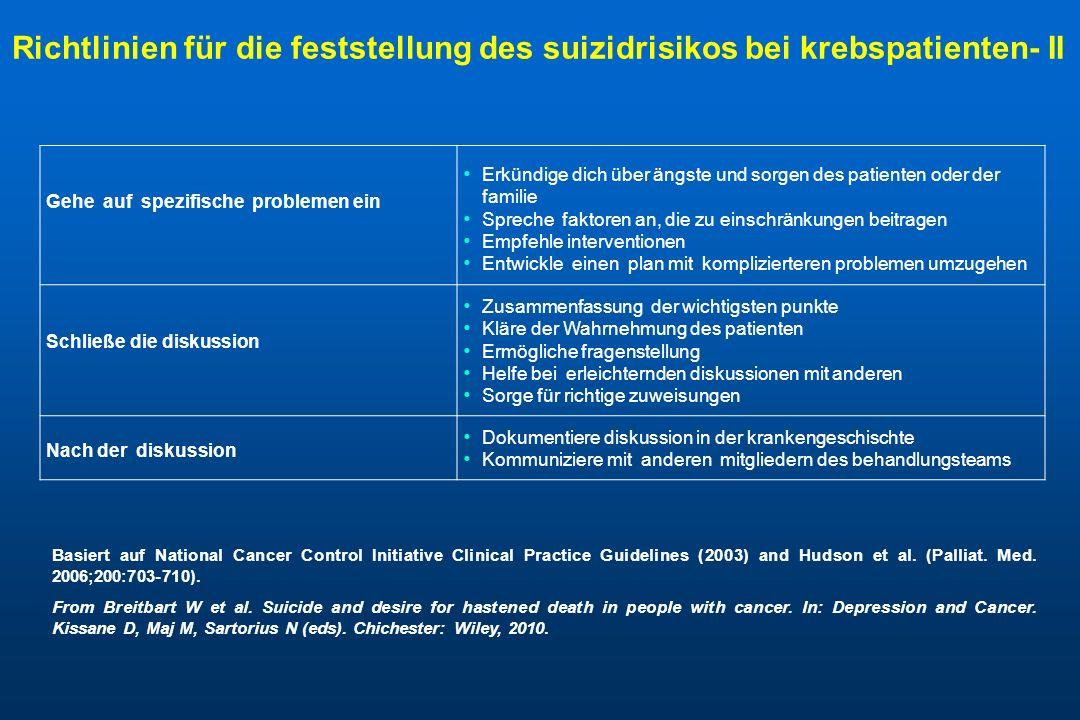 Richtlinien für die feststellung des suizidrisikos bei krebspatienten- II
