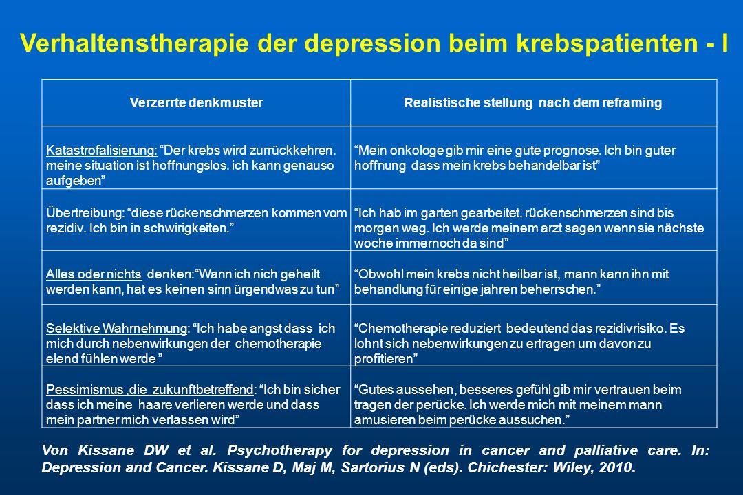 Verhaltenstherapie der depression beim krebspatienten - I