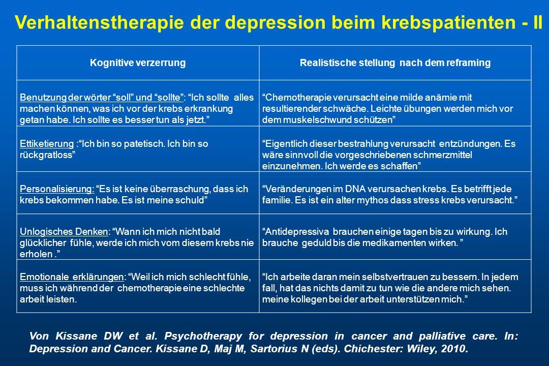 Verhaltenstherapie der depression beim krebspatienten - II