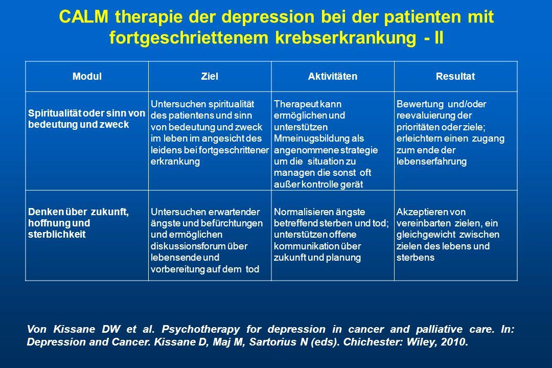 CALM therapie der depression bei der patienten mit fortgeschriettenem krebserkrankung - II