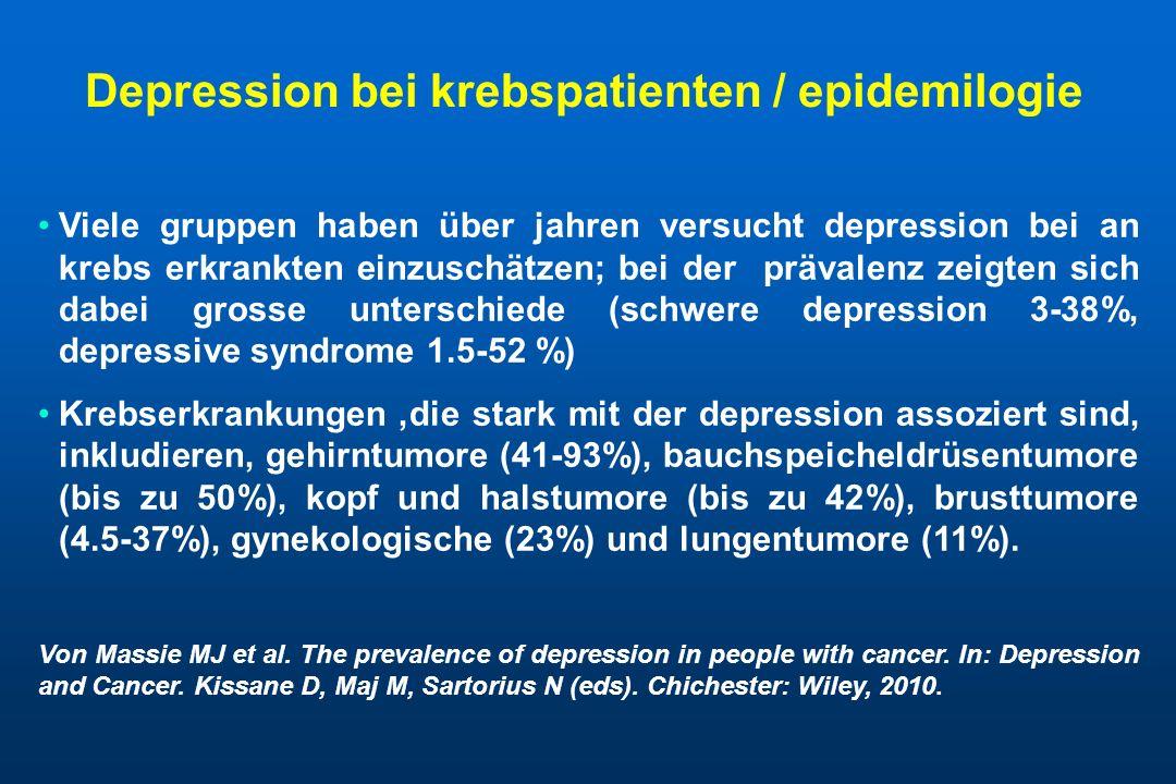 Depression bei krebspatienten / epidemilogie