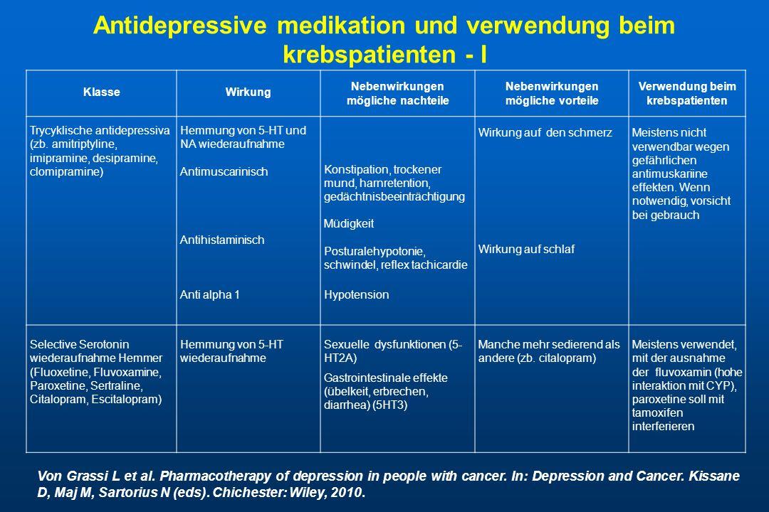 Antidepressive medikation und verwendung beim krebspatienten - I
