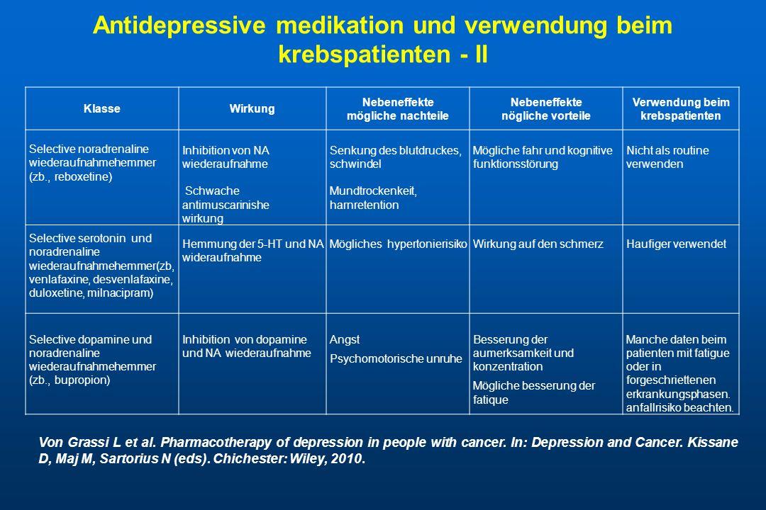 Antidepressive medikation und verwendung beim krebspatienten - II