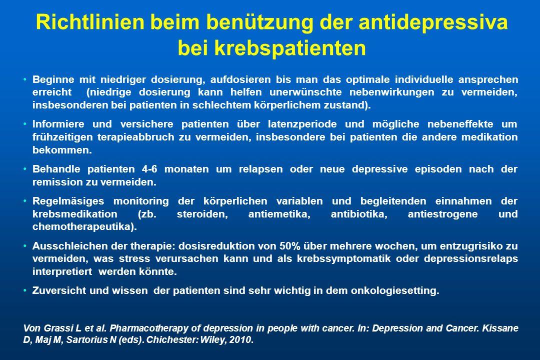 Richtlinien beim benützung der antidepressiva bei krebspatienten