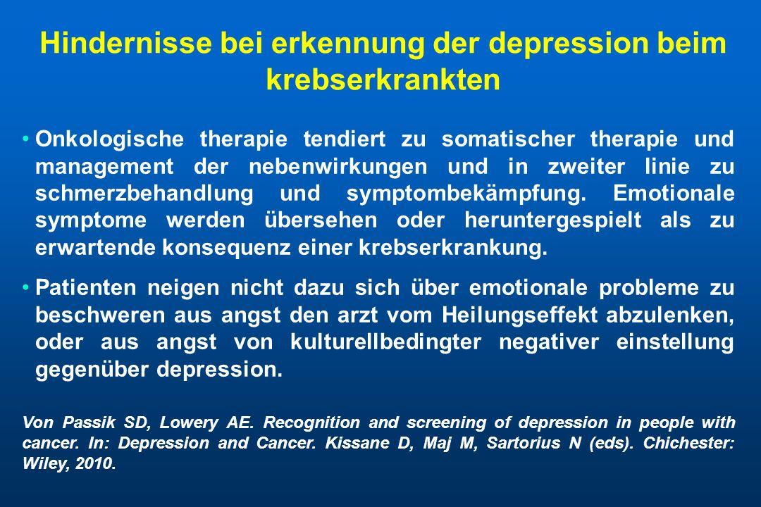 Hindernisse bei erkennung der depression beim krebserkrankten
