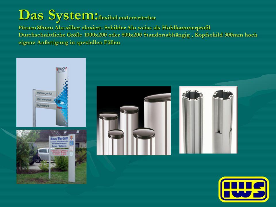 Das System:flexibel und erweiterbar Pfosten 80mm Alu-silber eloxiert- Schilder Alu weiss als Hohlkammerprofil Durchschnittliche Größe 1000x200 oder 800x200 Standortabhängig , Kopfschild 300mm hoch eigene Anfertigung in speziellen Fällen