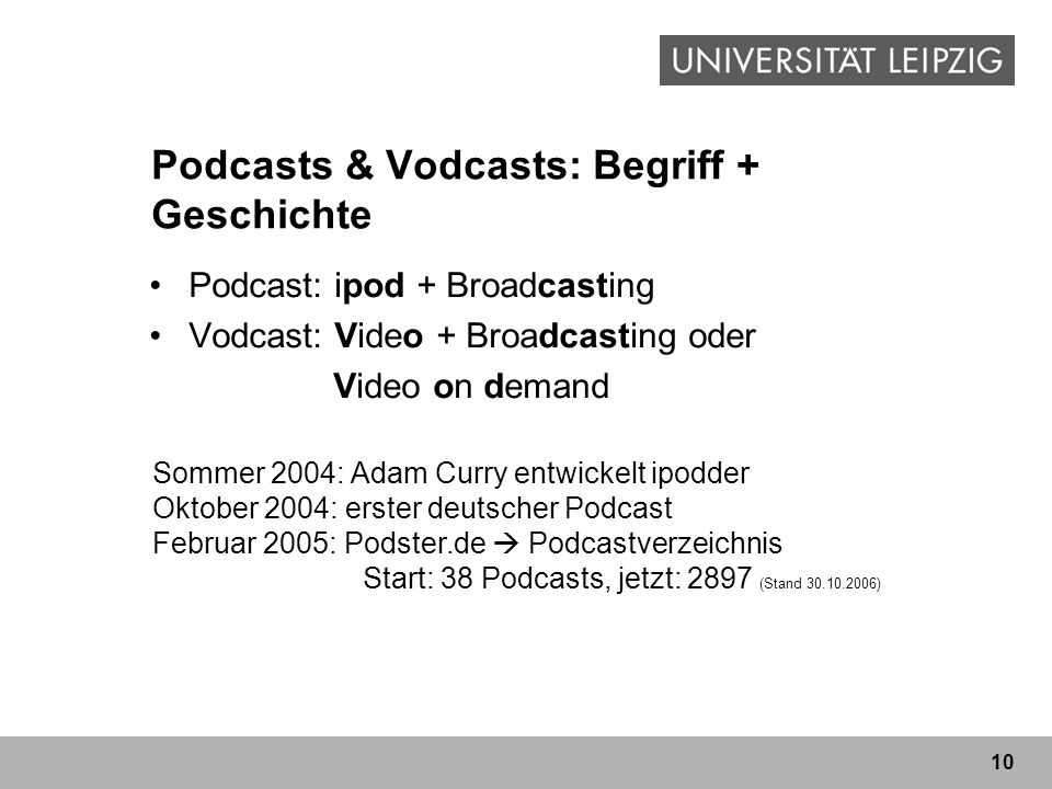 Podcasts & Vodcasts: Begriff + Geschichte