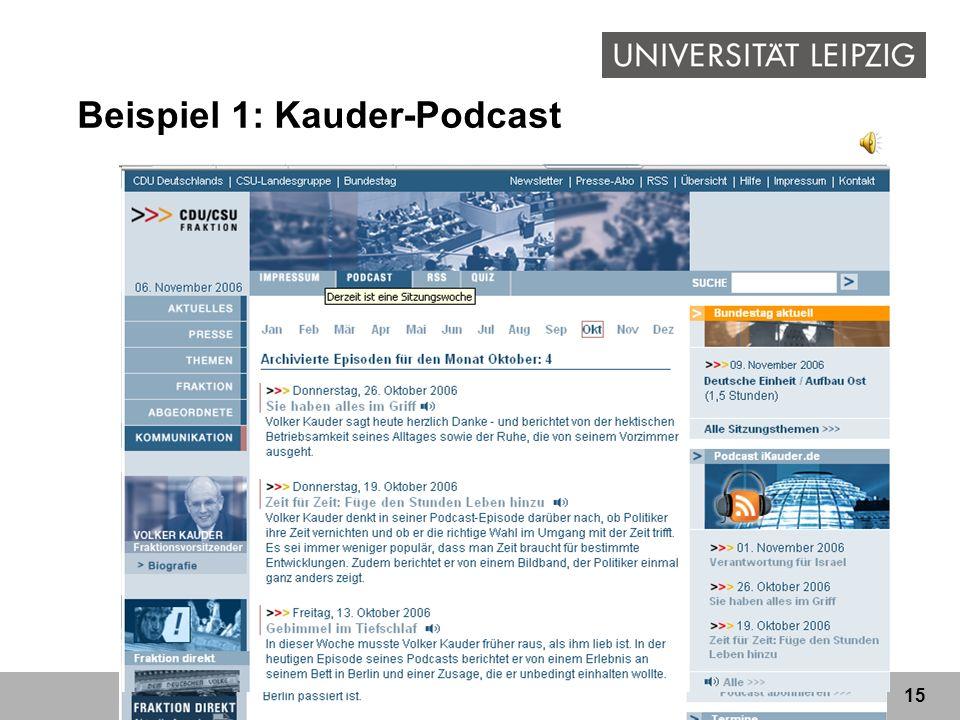 Beispiel 1: Kauder-Podcast