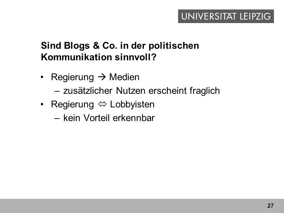 Sind Blogs & Co. in der politischen Kommunikation sinnvoll