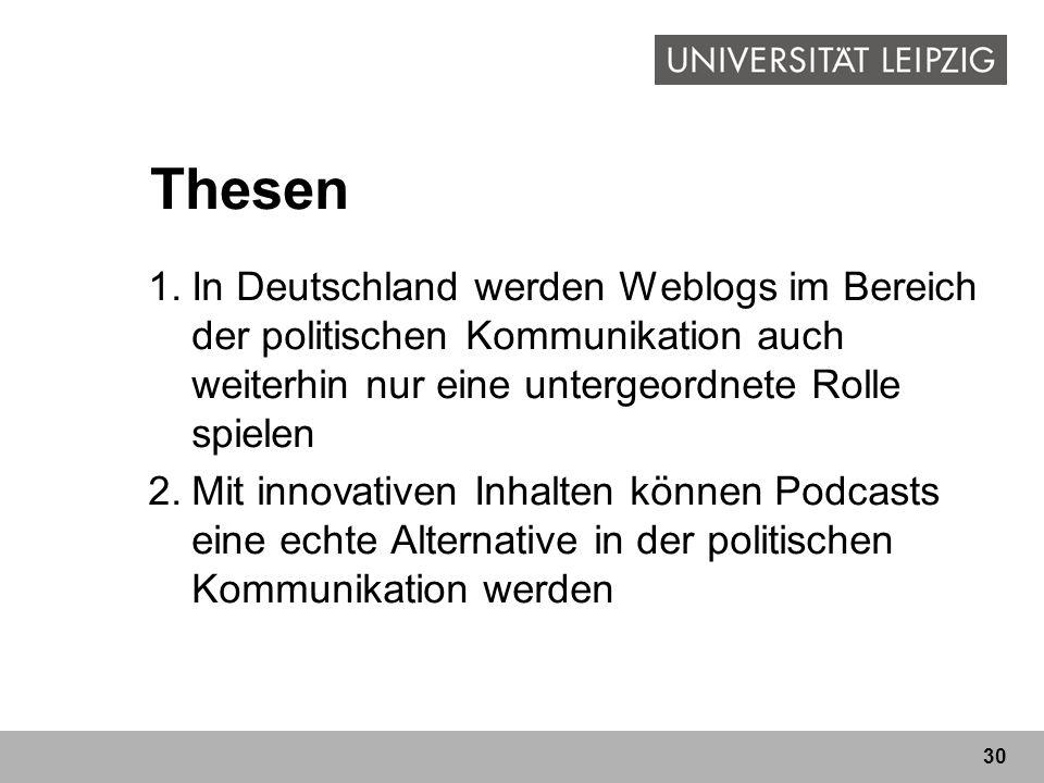 Thesen In Deutschland werden Weblogs im Bereich der politischen Kommunikation auch weiterhin nur eine untergeordnete Rolle spielen.