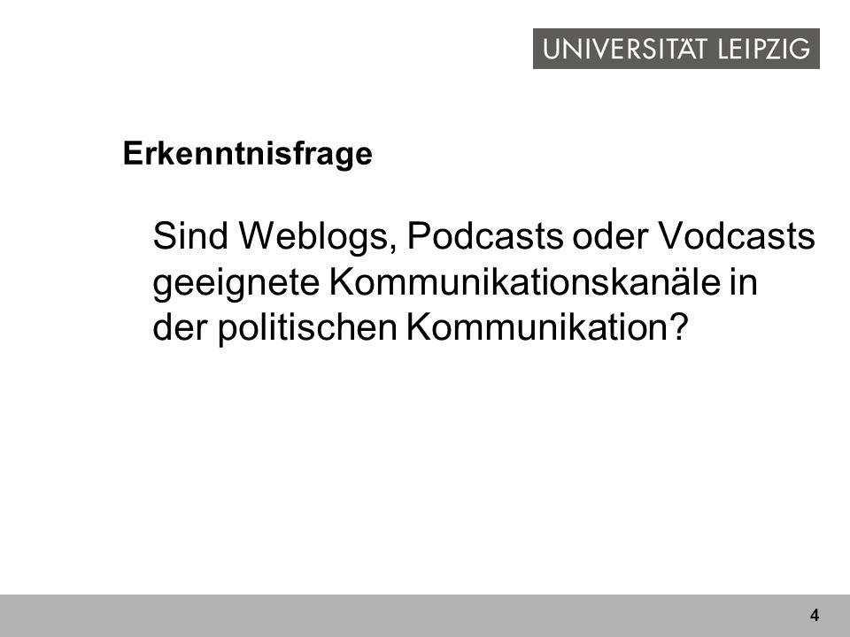 Erkenntnisfrage Sind Weblogs, Podcasts oder Vodcasts geeignete Kommunikationskanäle in der politischen Kommunikation