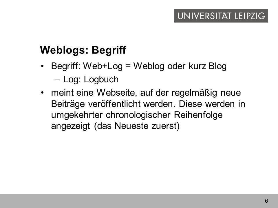 Weblogs: Begriff Begriff: Web+Log = Weblog oder kurz Blog Log: Logbuch