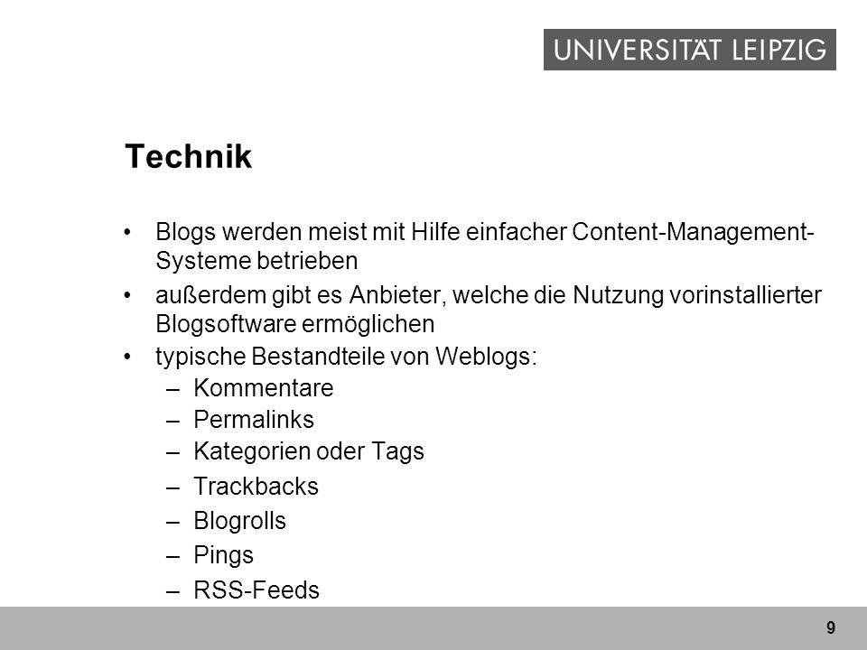 Technik Blogs werden meist mit Hilfe einfacher Content-Management-Systeme betrieben.