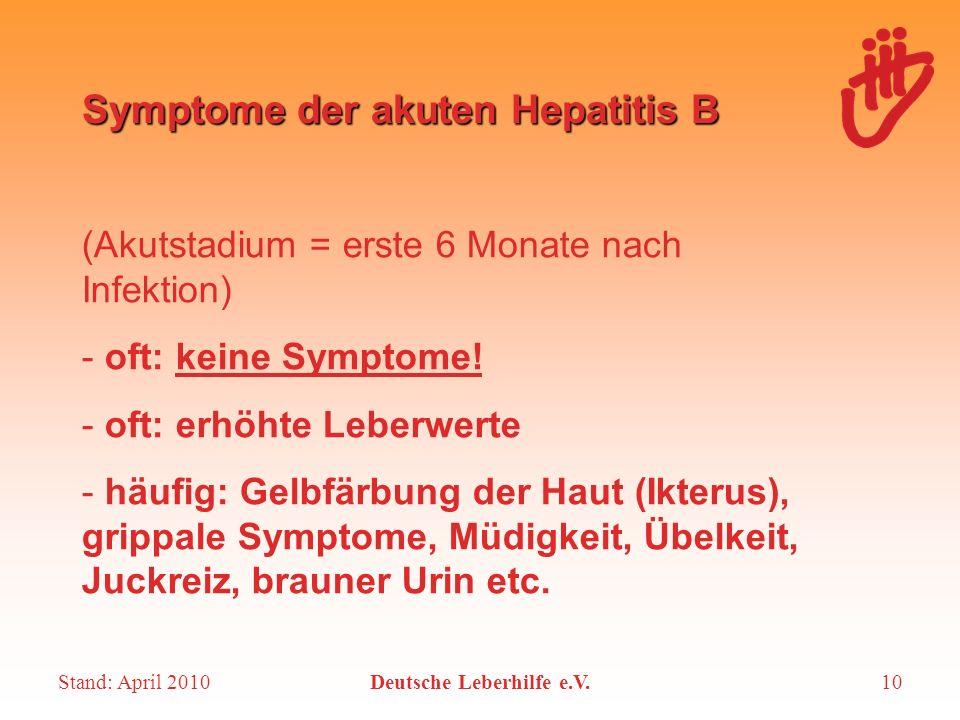 Symptome der akuten Hepatitis B