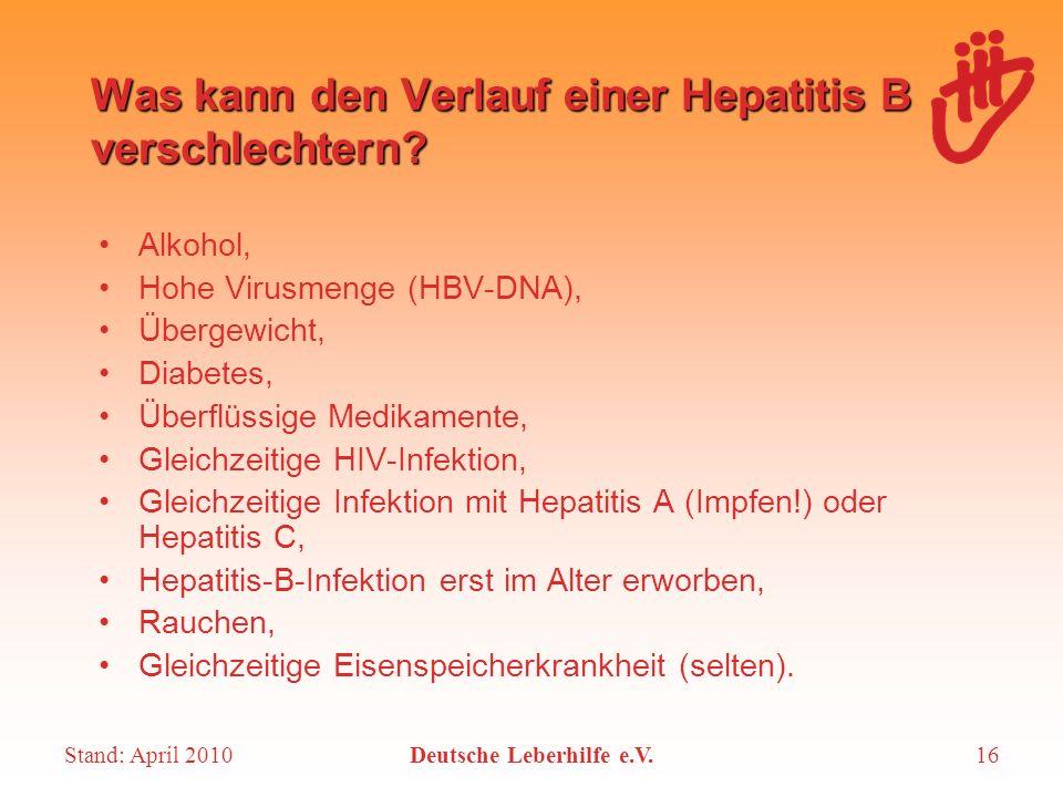 Was kann den Verlauf einer Hepatitis B verschlechtern