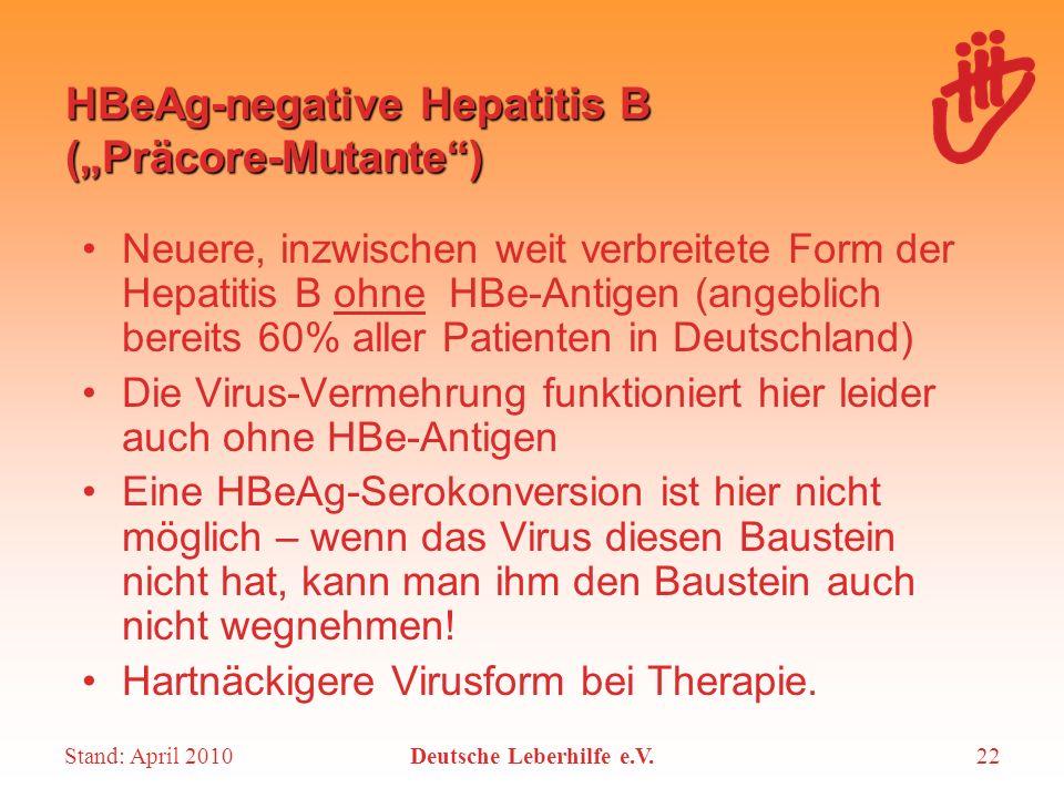 "HBeAg-negative Hepatitis B (""Präcore-Mutante )"