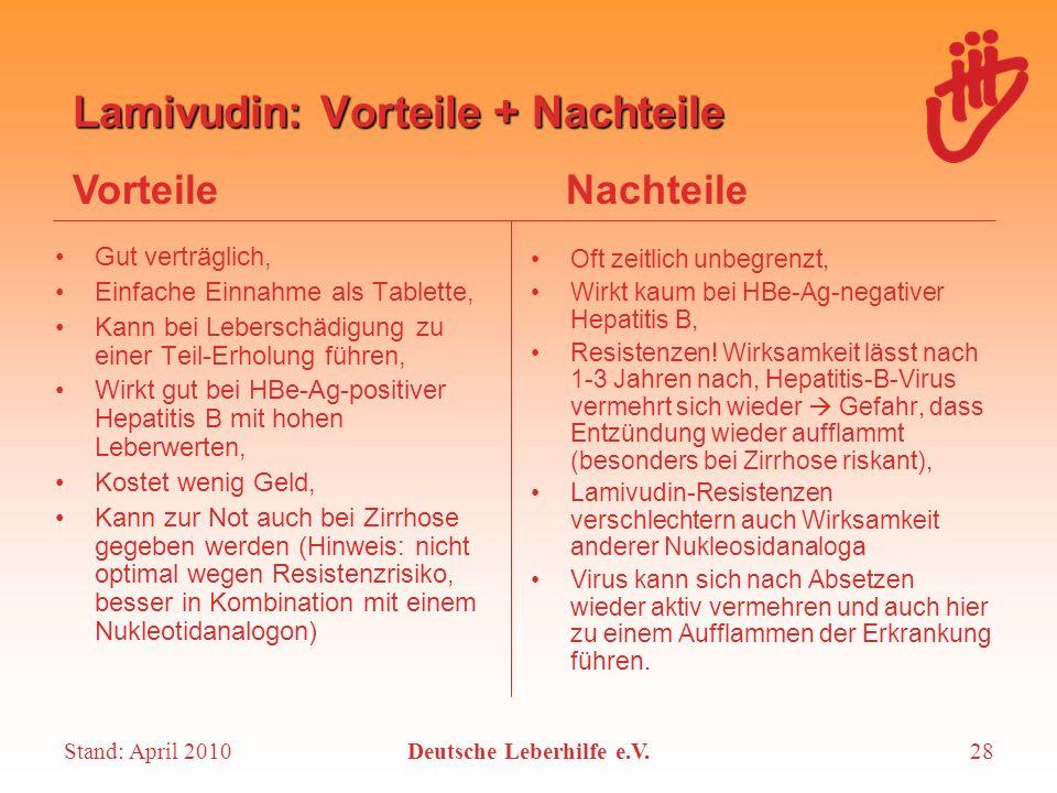 Lamivudin: Vorteile + Nachteile
