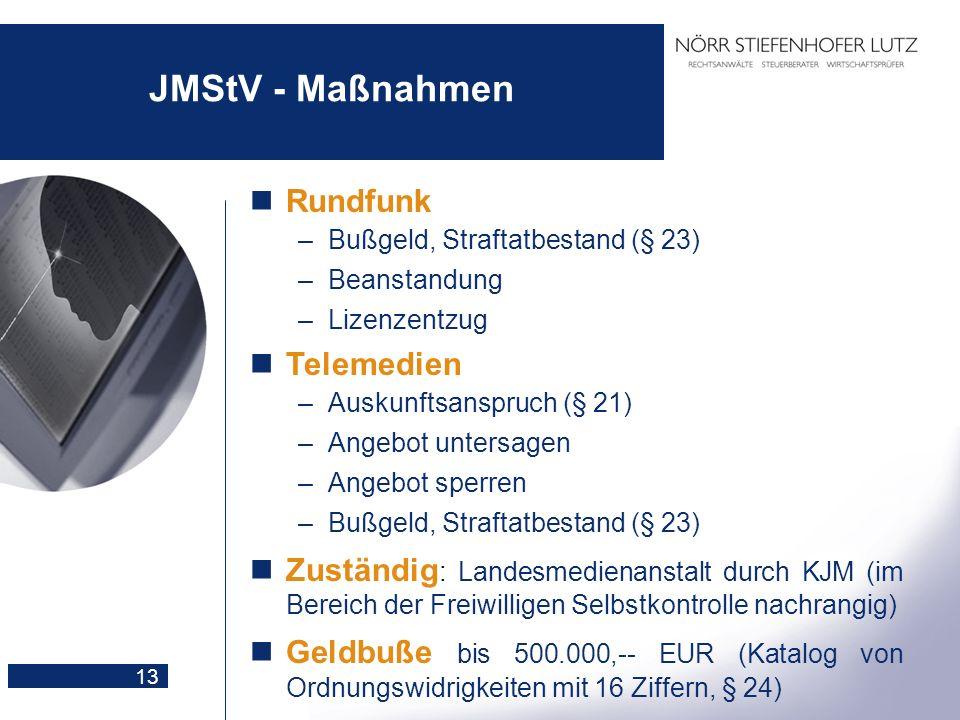 JMStV - Maßnahmen Rundfunk Telemedien