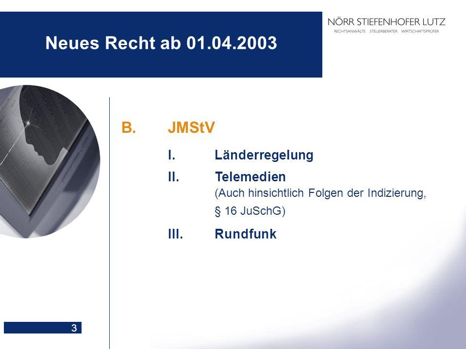 Neues Recht ab 01.04.2003 B. JMStV I. Länderregelung III. Rundfunk