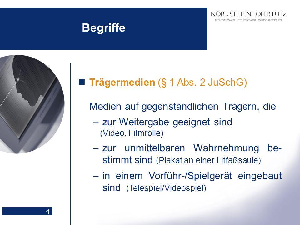 Begriffe Trägermedien (§ 1 Abs. 2 JuSchG) Medien auf gegenständlichen Trägern, die. zur Weitergabe geeignet sind.