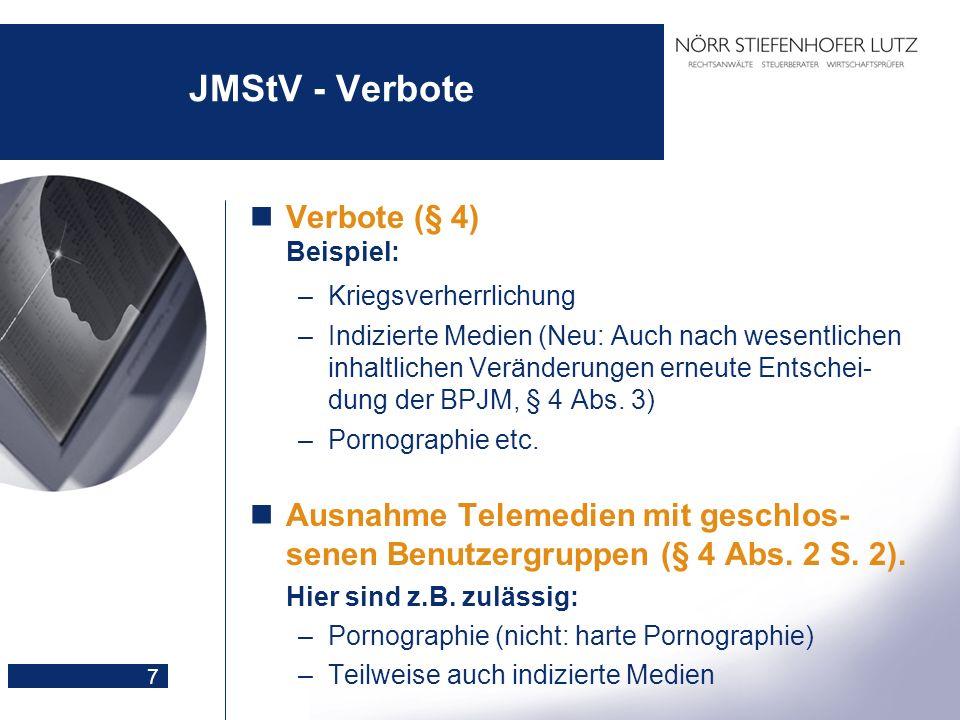 JMStV - Verbote Verbote (§ 4) Beispiel: