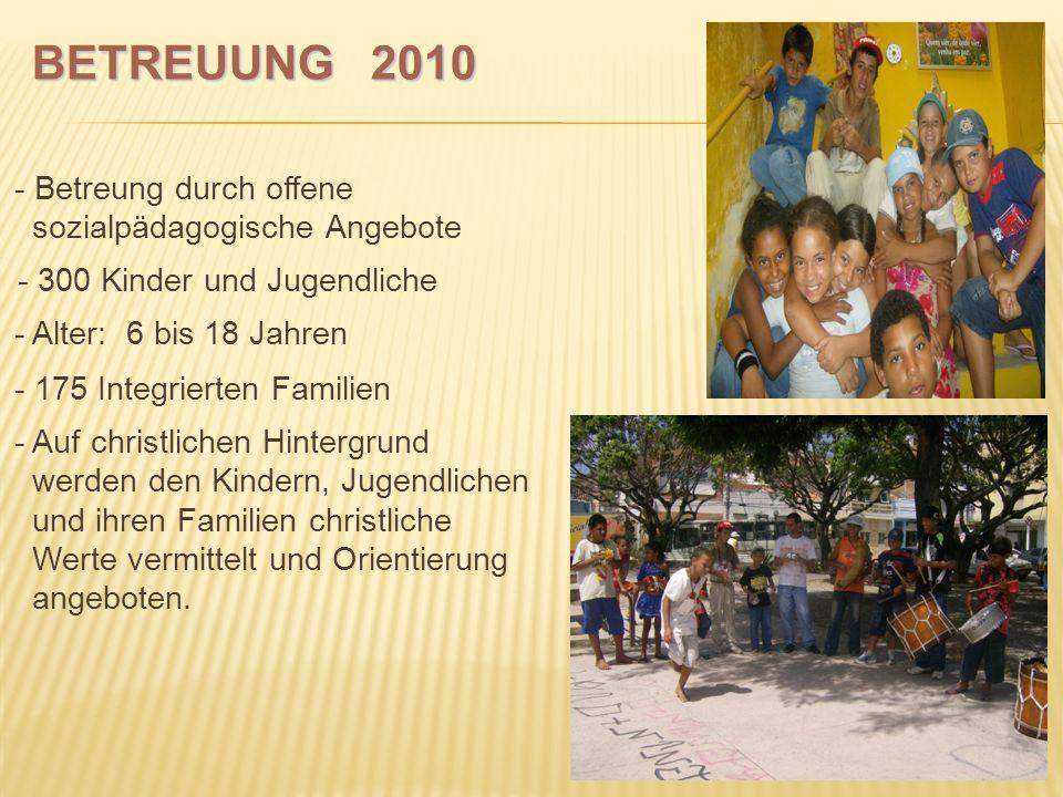 BETREUUNG 2010 - Betreung durch offene sozialpädagogische Angebote - 300 Kinder und Jugendliche - Alter: 6 bis 18 Jahren.