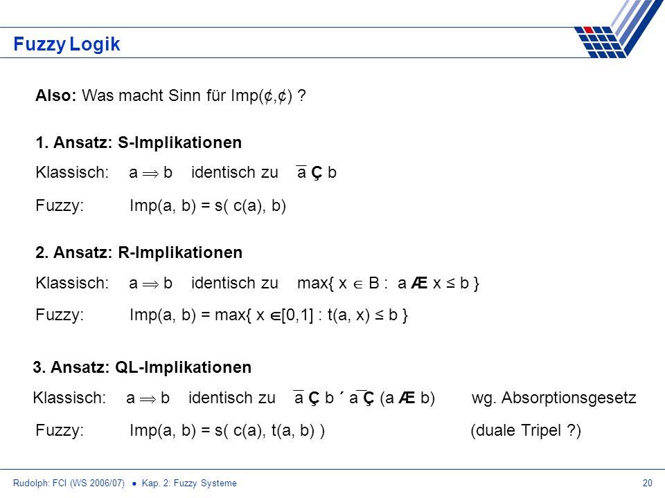 Fuzzy Logik Also: Was macht Sinn für Imp(¢,¢)