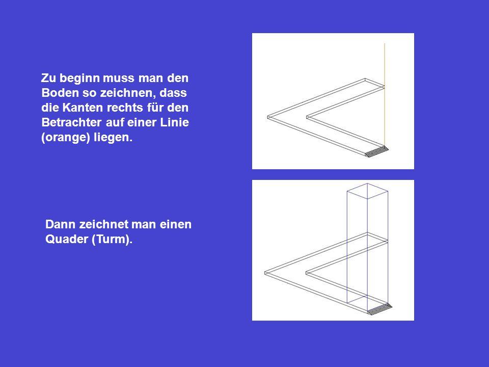Zu beginn muss man den Boden so zeichnen, dass die Kanten rechts für den Betrachter auf einer Linie (orange) liegen.