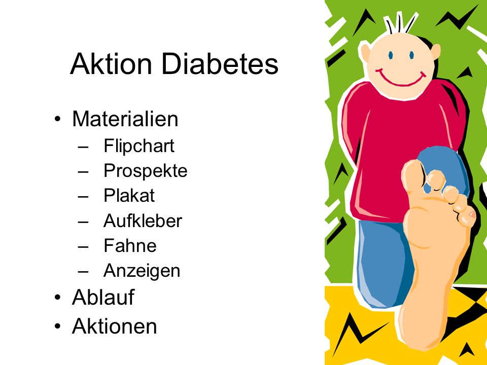 Aktion Diabetes Materialien Ablauf Aktionen Flipchart Prospekte Plakat