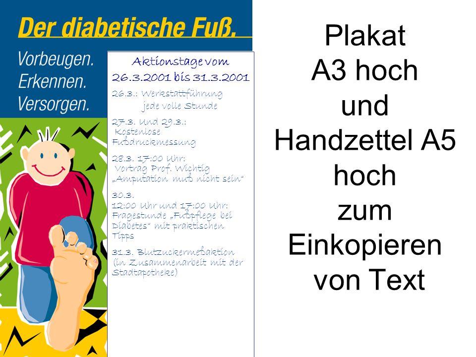Plakat A3 hoch und Handzettel A5 hoch zum Einkopieren von Text