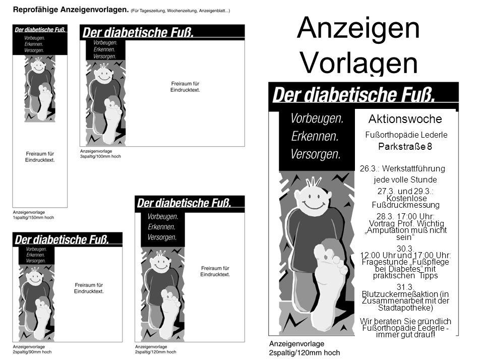 Anzeigen Vorlagen Aktionswoche Fußorthopädie Lederle Parkstraße 8