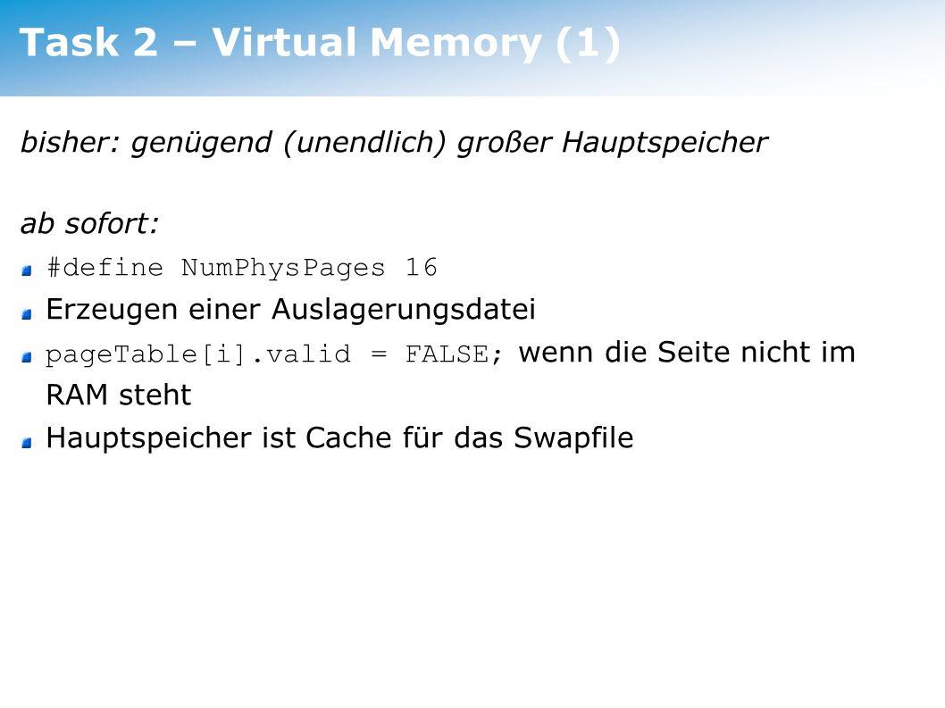 Task 2 – Virtual Memory (1)