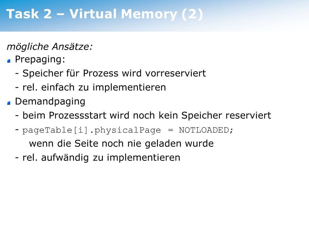 Task 2 – Virtual Memory (2)