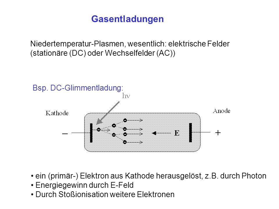Gasentladungen Niedertemperatur-Plasmen, wesentlich: elektrische Felder. (stationäre (DC) oder Wechselfelder (AC))