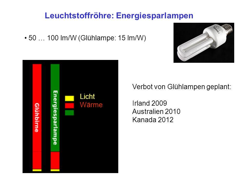 Leuchtstoffröhre: Energiesparlampen