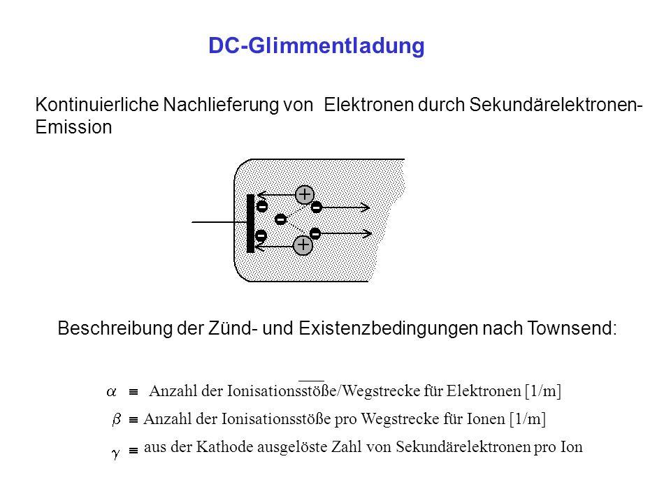 DC-Glimmentladung Kontinuierliche Nachlieferung von Elektronen durch Sekundärelektronen-Emission.