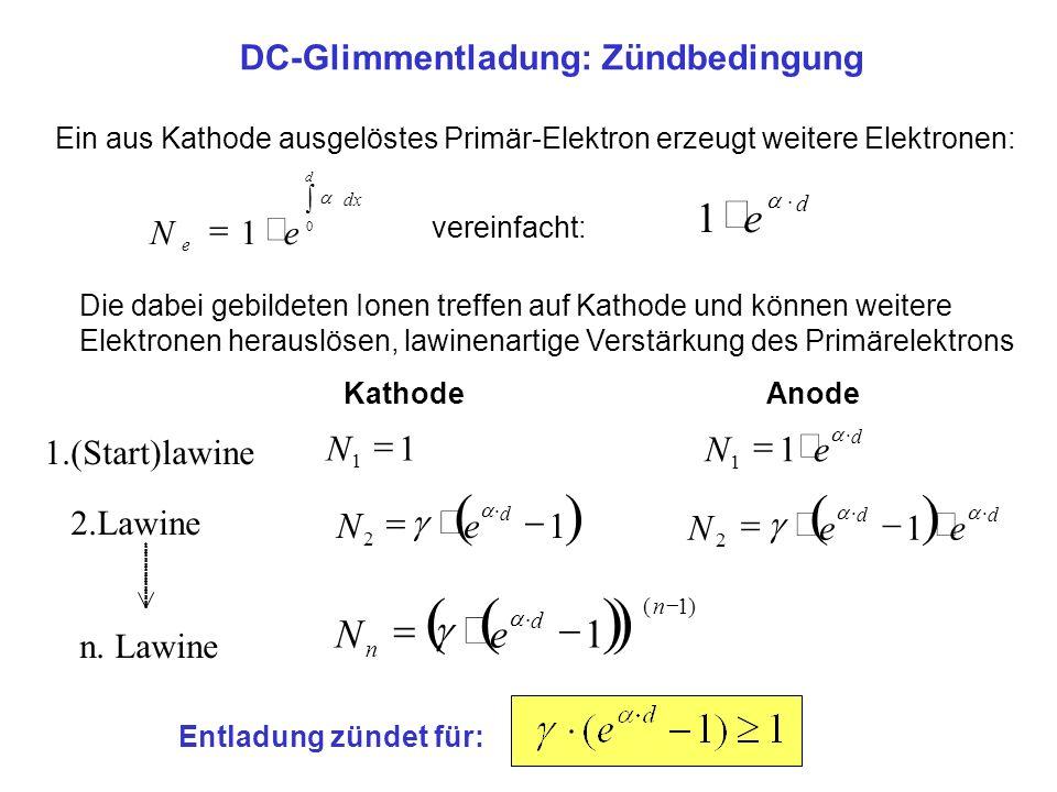 ( ) e 1 1 = N e - g DC-Glimmentladung: Zündbedingung × = N 1